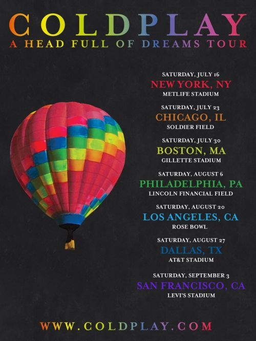 Coldplay Tumblr : U.S. stadium tour announced! Tickets on general...