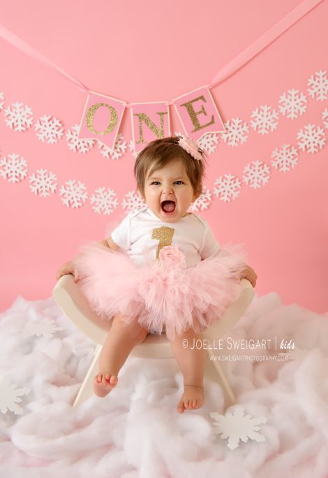 """Winter Baby"" themed first birthday photos"