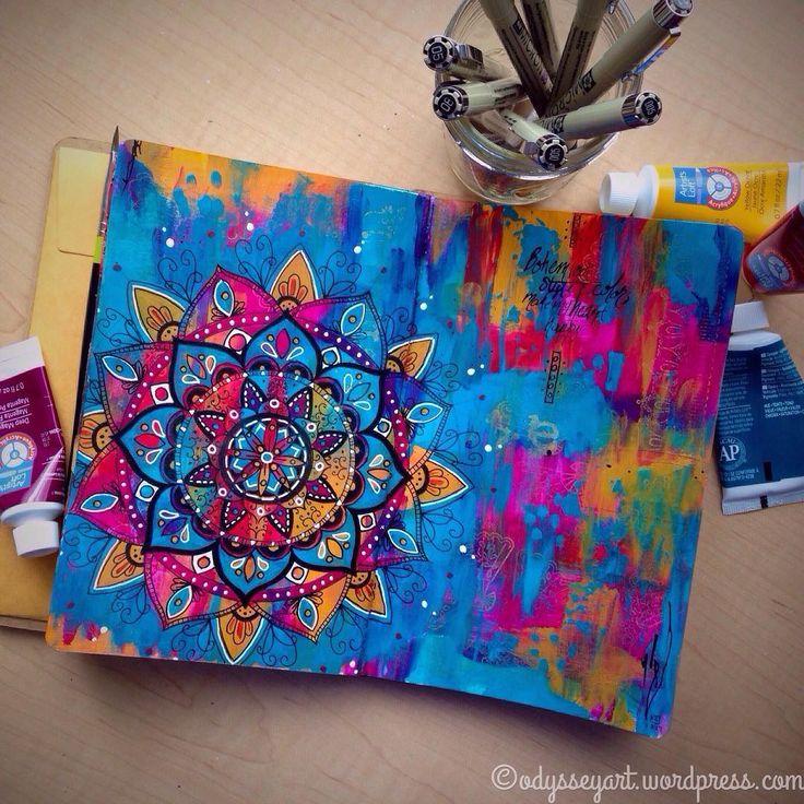 Bohemian Rhapsody.  Artists Loft acrylics Color Box metallic ink, Sakura Micron and Uni-ball Signo pens in Ranger art journal.  #artjournal #mixedmedia #bohemian #painting #odysseyartart #odysseyartdoodles #mandala #acrylics #dailydoodle2017 #doodle2017 #sketch #sketchbook #pigmamicron #sakuramicron