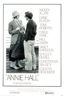 """BEST PICTURE:   (1977)   ANNIE HALL"""" Neurotic New York comedian Alvy Singer falls in love with the ditsy Annie Hall. Stars: Woody Allen, Diane Keaton, Tony Roberts"""