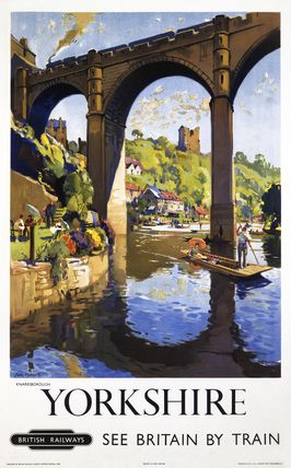ENGLAND - YORKSHIRE - KNARESBOROUGH - Vintage Tourism Poster - UK Railway Poster {NOTE}