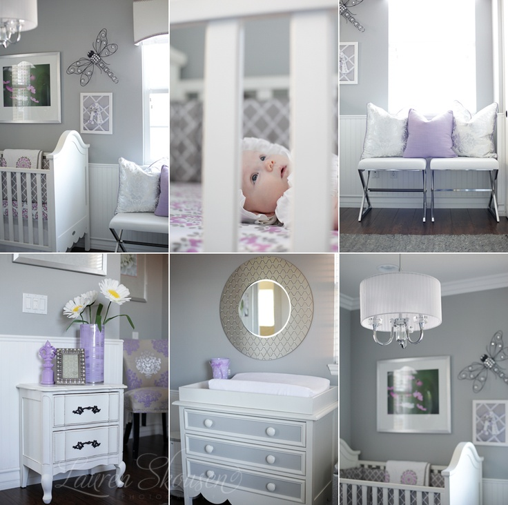 grey and lavendar.. Will be my baby girl's room some day!
