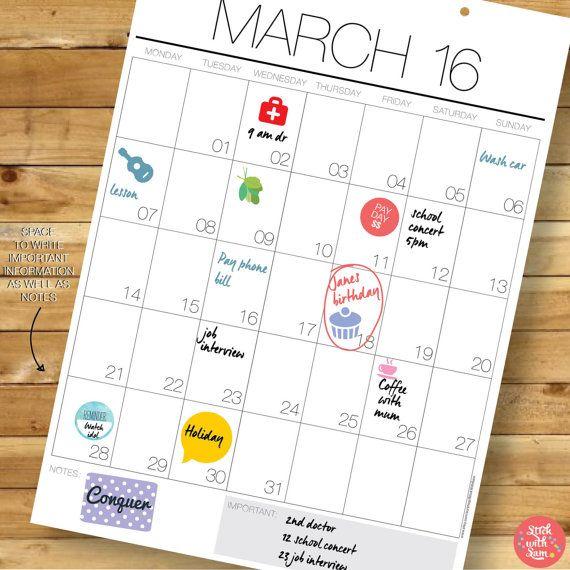 Programa de 2016 pared calendario - A3 pared planificador. 13 meses abril de 2016 a de 2017 abril con ganchos gratis. Agenda de regalo para ella o