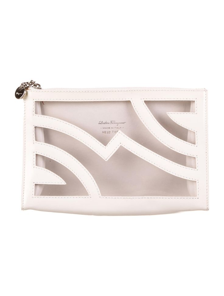 White coated leather Salvatore Ferragamo cosmetic bag with laser cut print featuring clear PVC underlay and top zip closure.