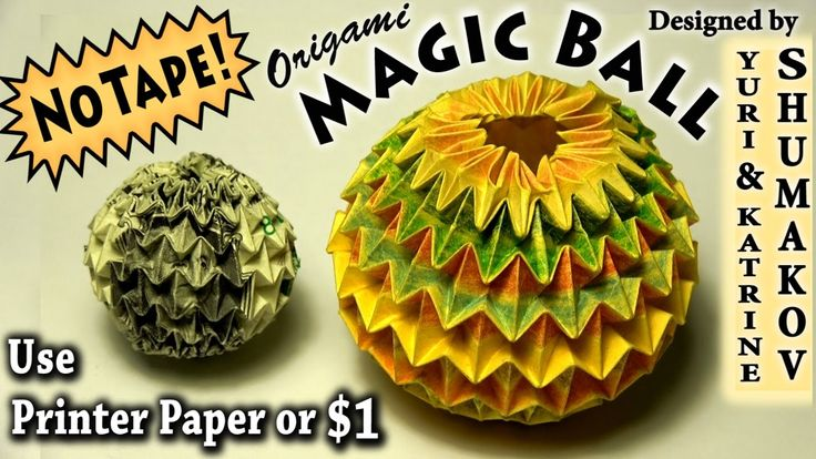 Origami Magic Ball - NO TAPE!!!: PRE-REQUISITE: Mini Magic Ball: https://youtu.be/VWhngiJwOH8  Fold it before trying this model! [High-Intermediate] How to fold the full Magic Ball (designed by Yuri and Katrin Shumakov - www.oriland.com ) using my new easier method that uses no tape or glue.    In this tutorial I show how to fold it from a 4.25- inch X 11.5-inch rectangle which is simply half a sheet of letter-sized printer paper. It can also be folded from a US dollar bill (3X7 rectangle)…