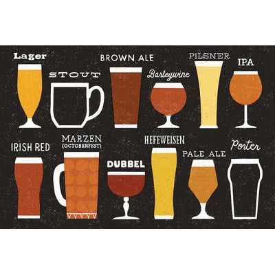 "Mercury Row Craft Beer List Graphic Art on Wrapped Canvas Size: 18"" H x 26"" W x 0.75"" D"