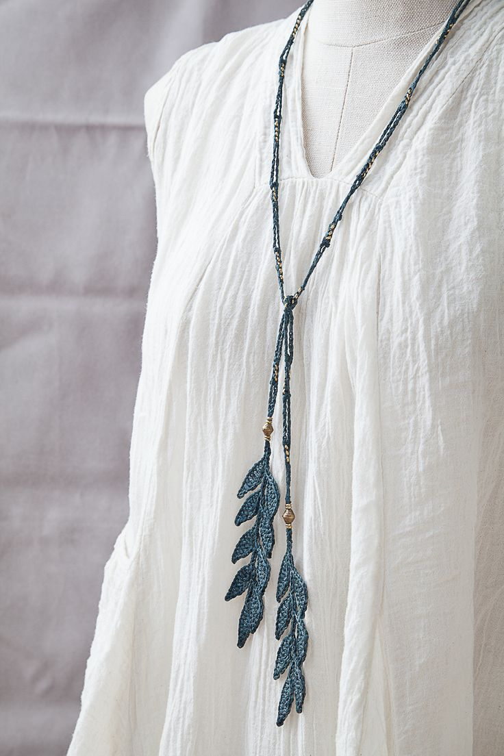Mother's Day Gift Sale! 40% off discount code: mumlove2014 • Silk Leaf Necklace • Brass beads • Designed by Kelli Ronci