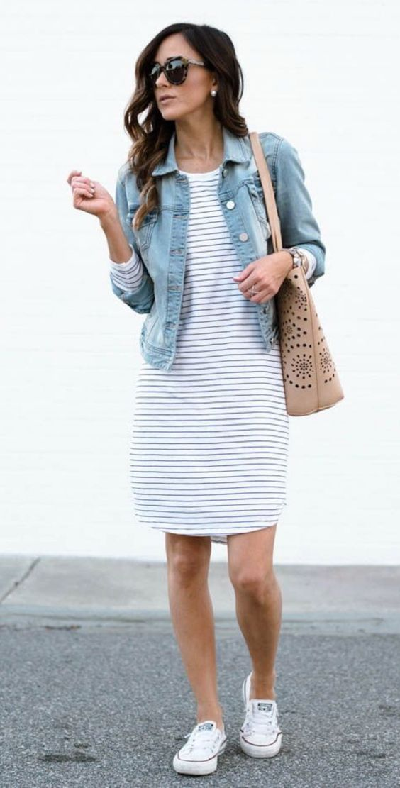 Striped dress, jean jacket, and white converse.