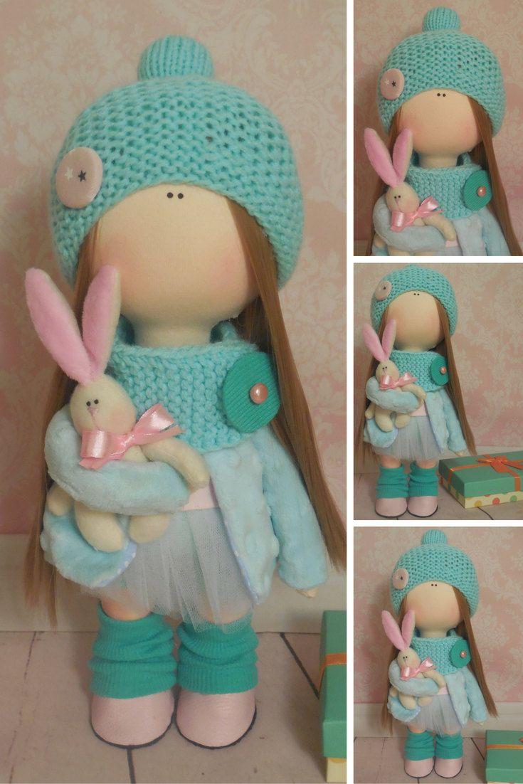 Cloth doll Tilda doll Textile doll Handmade doll Fabric doll Green doll Soft doll Rag doll Interior doll Baby doll Nursery doll by Maria