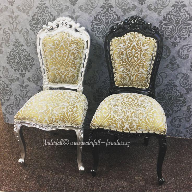 Retro zámecké jídelní židle, silver and black painted dining chairs, classic style furniture
