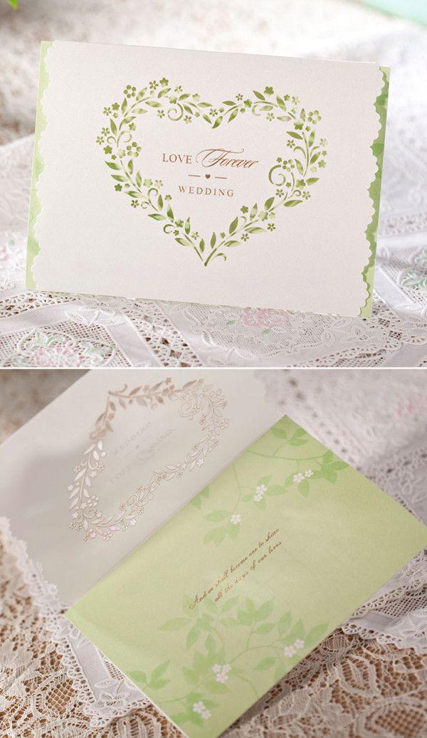 fresh green heart shaped laser cut folded wedding invitations #weddinginvitations #elegantweddinginvites #vintageweddingideas