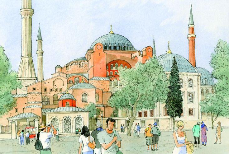 Istanbul, Aya Sofya (Sainte-Sophie), François Place illustration