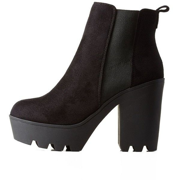 Soda Soda Lug Sole Platform Chelsea Booties ($20) ❤ liked on Polyvore featuring shoes, boots, ankle booties, black, black platform boots, platform ankle boots, platform booties, black chelsea boots and platform chelsea boots