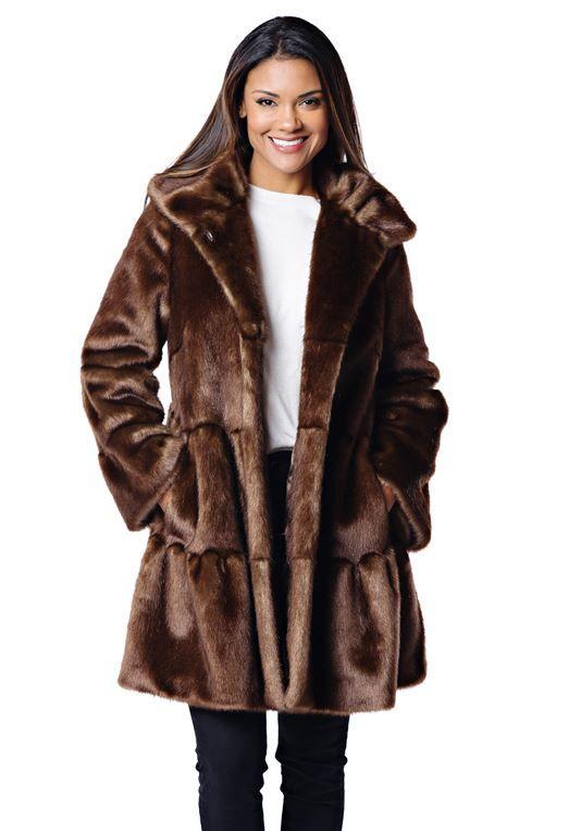 de7ed7026 Copper Mink Faux Fur Knee-Length Swing Coat | Womens Faux Fur Coats - Donna  Salyers Fabulous Furs