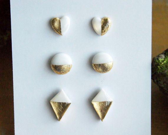 SALE Set 3 White heart round rhombus gold leaf by InviolaJewerly
