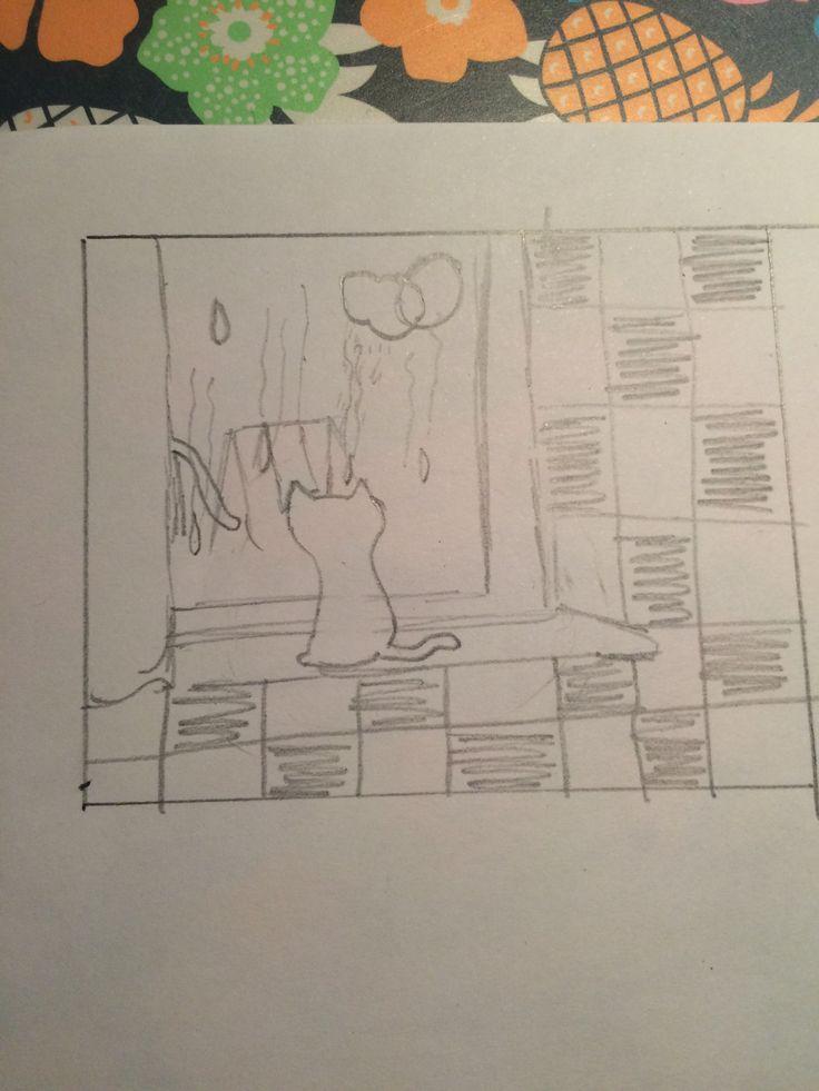 Schets. Het is een tekening van een kat dat naar buiten staart en dan zie je vaag een speeltuin en de zon en een wolk.