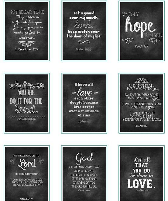 Free Online Bible Quotes: Free Chalkboard Verses Printables.