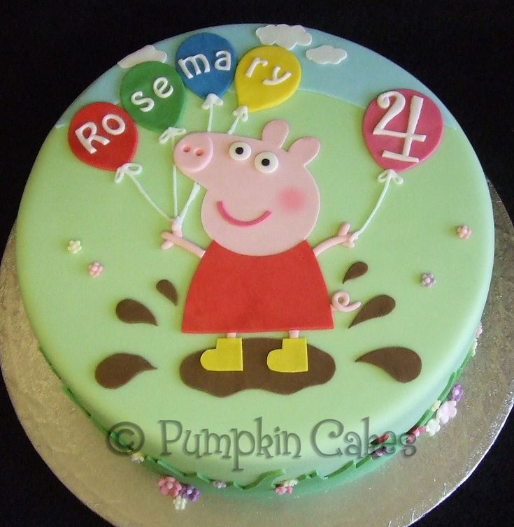 We love muddy puddles!! Peppa Pig in all hand-cut fondant on madeira cake