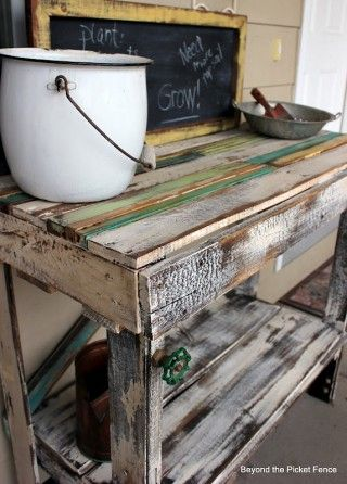 Beyond The Picket Fence: Pallet Potting Bench for deck
