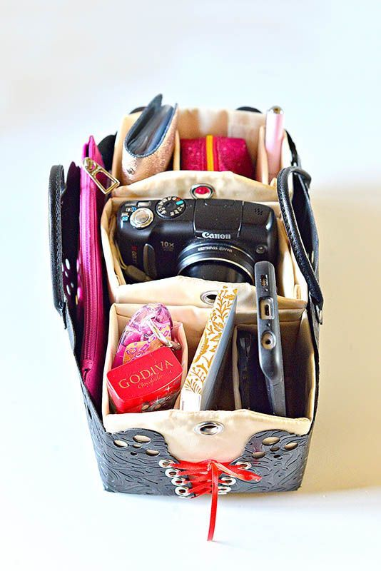 PursePacks modular Purse organizer with 3 compartment  purse bins in a row. Great to adjust a compartment to house a camera.