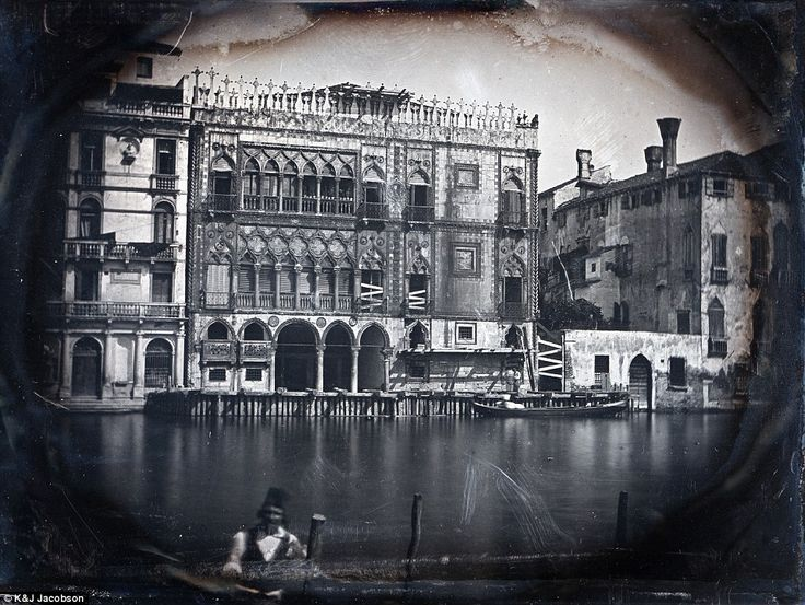 This photo from the book shows Venice's tranquil Grand Canal and Ca' d'Oro palace under restoration in 1845