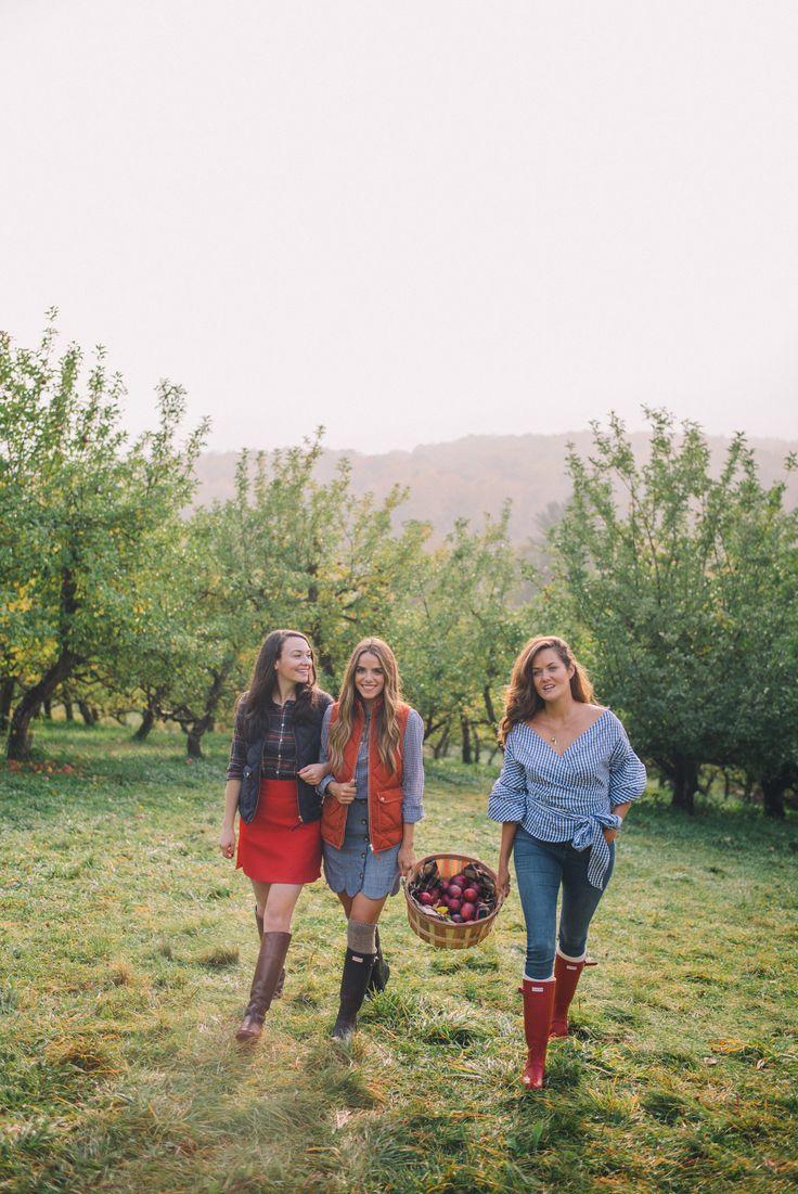 Gal Meets Glam Apple Picking In Vermont - On Julia - J.Crew vest, J.Crew shirt, Tuckernuck skirt, Hunter boots & cable knit socks