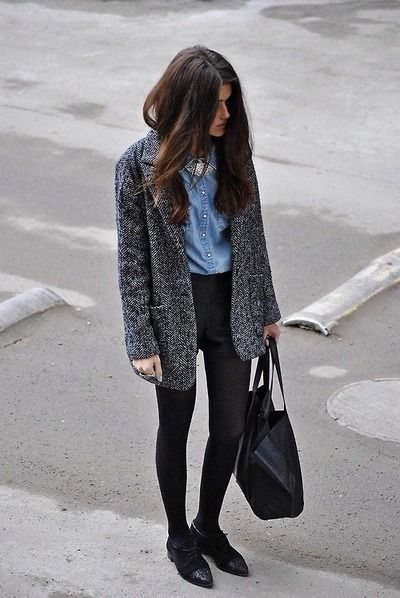 MINIMAL + CLASSIC: chambray + tweed coat + high waist black pants