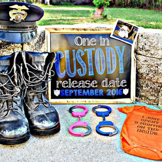 Chalkboard Pregnancy Announcement  Police by MMasonDesigns