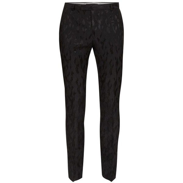TOPMAN Black Jacquard Ultra Skinny Fit Suit Trousers ($66) ❤ liked on Polyvore featuring men's fashion, men's clothing, men's pants, men's dress pants, black, mens skinny suit pants, mens super skinny dress pants, mens skinny dress pants, mens skinny pants and mens leopard print pants