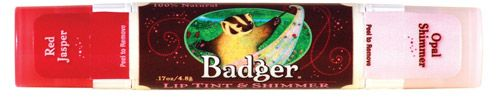 Badger Lip Tint & Shimmer. Natural lip balm with natural mineral color and shimmer! Four great colors to choose from at EarthTurns.com! Free Shipping on all orders within the USA!  #natural #badgerbalm #organic