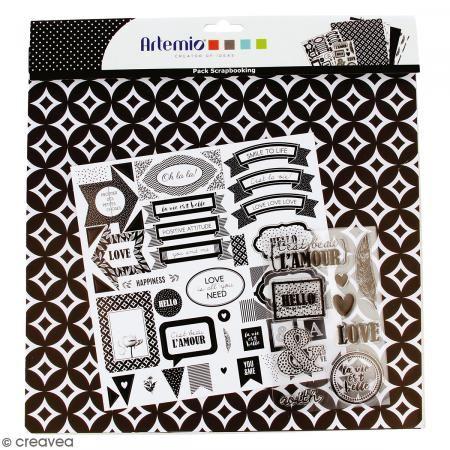 Kit scrapbooking Black and White - Papel, Pegatinas y Sellos - Fotografía n°1