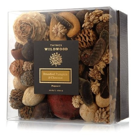Thymes Wildwood Brandied Pumpkin and Chestnut Potpourri. Perfect Thanksgiving hostess gift.