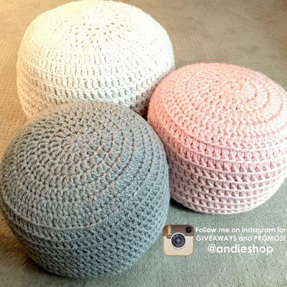 Best Blue And Grey Hand Crochet Pillow Ottoman Pouf Footstool 400 x 300