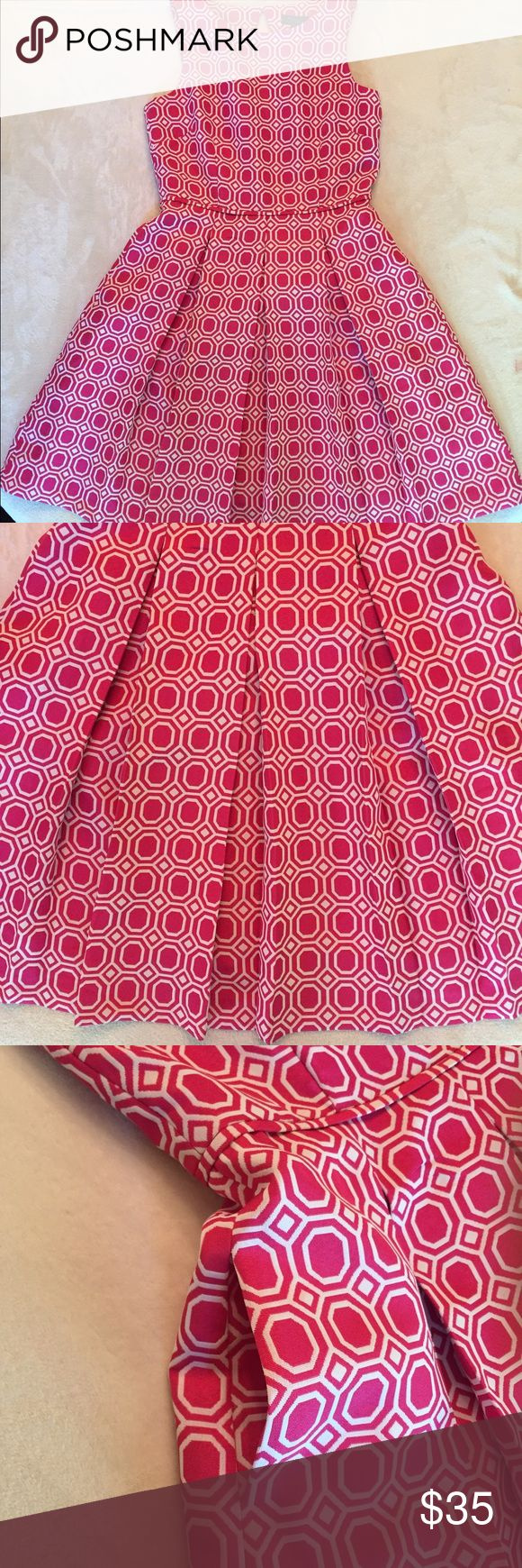 Vintage Style Geometric Pleated A Line Pink Dress This is a beautiful preppy vintage style dress with a cutout back, deep pleats, and an adorable pin-up girl feel. The thick fabric is breathable, but gives structure to this lovely piece. The zipper works well, the colors are vibrant, and this is in great condition overall! The only flaw is a sharpie mark through the tag that does NOT bleed through to the back. 🎀 keywords: prep, sorority recruitment, circle skirt, trend, retro, cute…