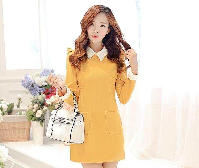 ชุดเดรสทำงานสีเหลือง แขนยาว คอปก เอวเข้ารูป เย็บกระเป๋าด้านหน้า http://www.fashiontooktook.com/product/3247/