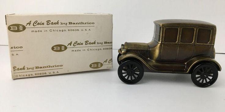 Vintage Banthrico Metal Coin Bank Model T 1926 Advertising