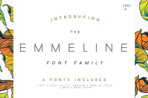 Emmeline Font Family by Zone 6 on @creativemarket