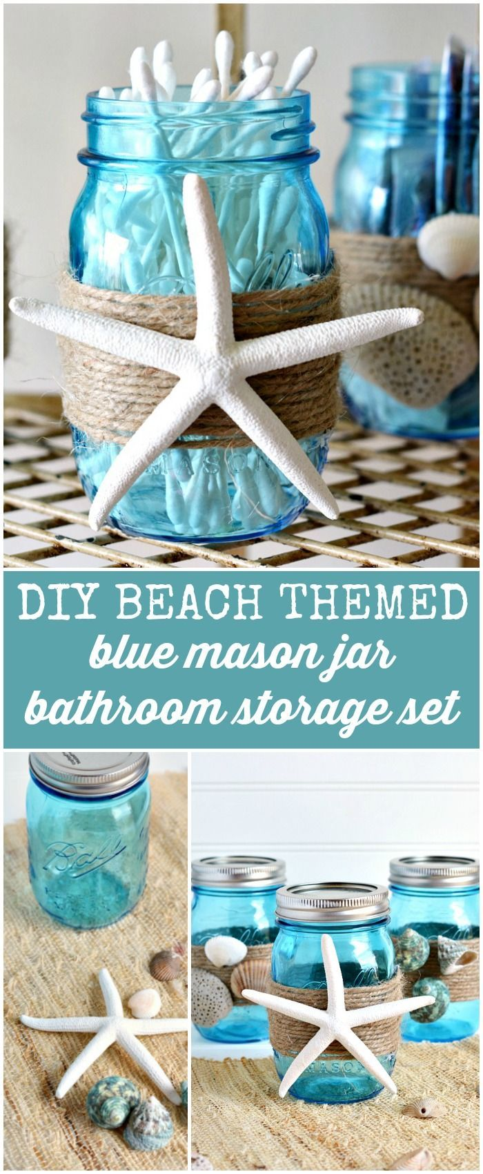 How to Make a DIY Beach Themed Blue Ball Mason Jar Bathroom Storage Set