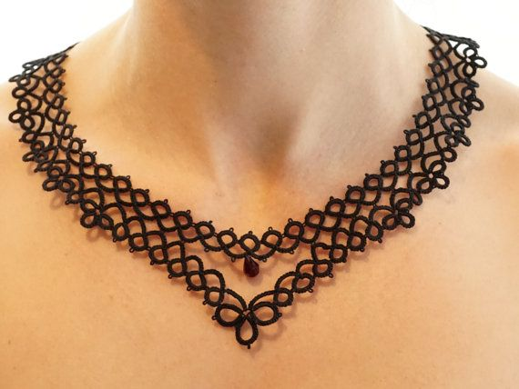 Black tatted necklace by Feblik on Etsy