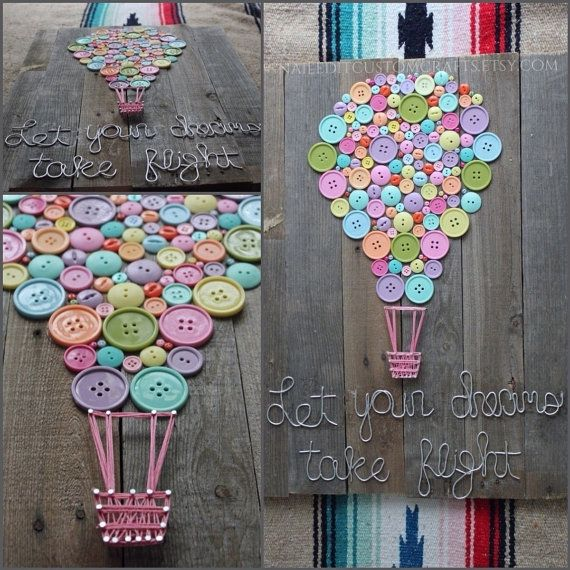Wood sign home decor buttons string art wire shabby for Diy handicraft items