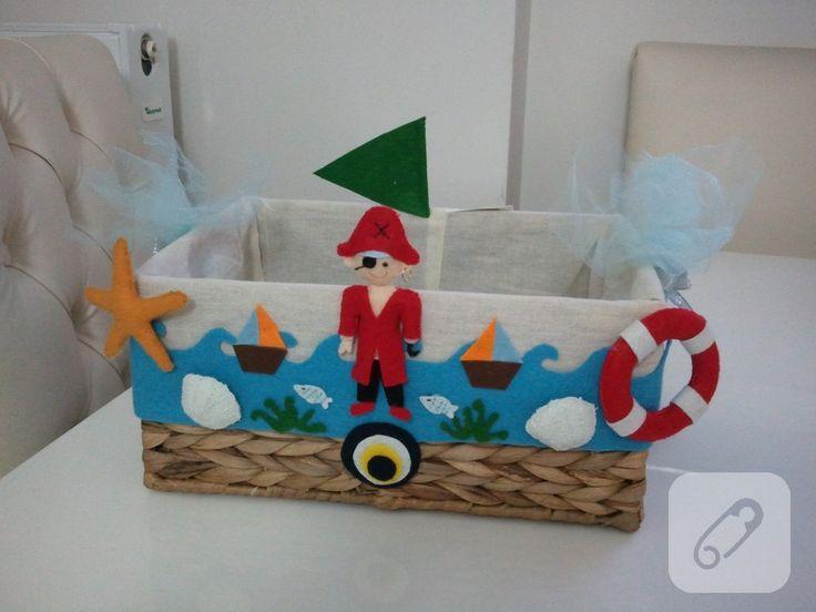Denizci temalı bebek sepeti