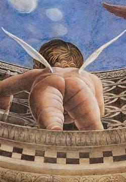 Andrea Mantegna,  Fragment Engeltje Palazzo Gonzaga in Mantova Een mooi verkort perspectief. In zijn tijd een absolute specialist op het gebied van perspectief. Let ook op het humoristische karakter van het werk!
