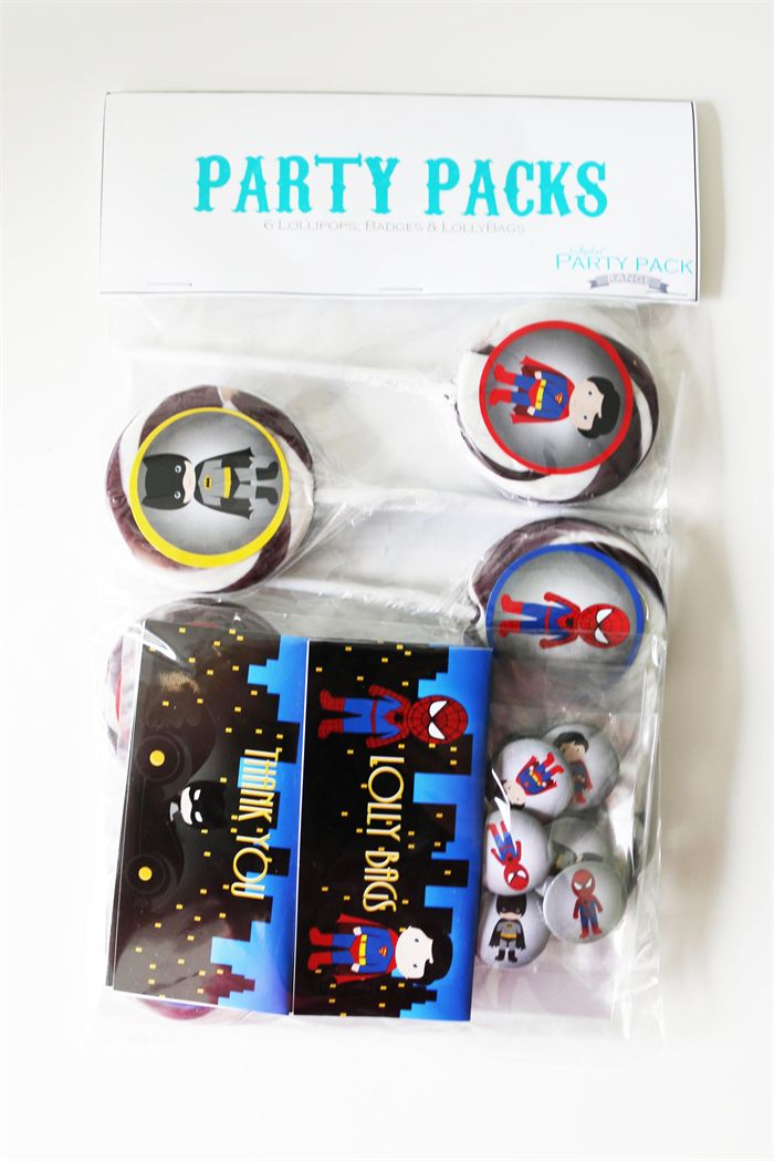 Superhero Party Pack. Spiderman, Batman & Superman. Lollipops badges