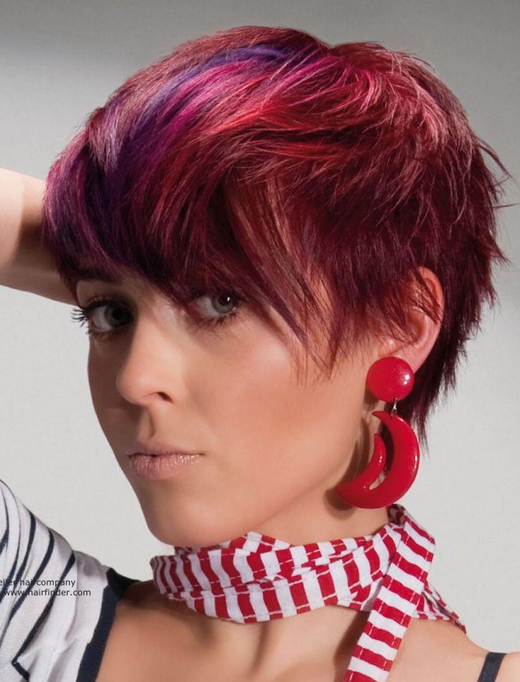 rote haarfarbe für kurze frisuren | cooles haarschnitt