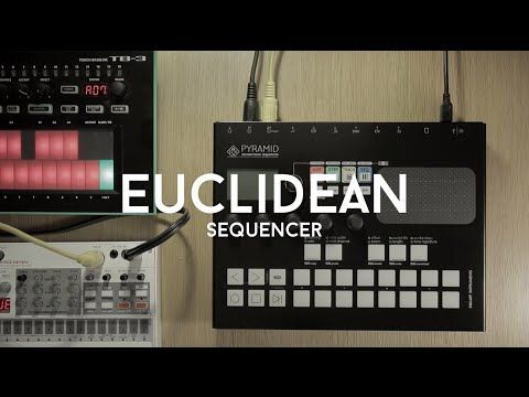 This video demonstrates the Euclidean Sequencer in Pyramid STEP mode, with Korg Volca Sample and Roland TB-3 sequenced.  Euclidean algorithm evenly generates distributed notes (fills) among a defined number of available slots (steps). The sequence created on this video contains 9 euclidean tracks. Each of them are 1 bar length or lower, but because the measure size differs, they shift against each other: the loop is ever-changing.