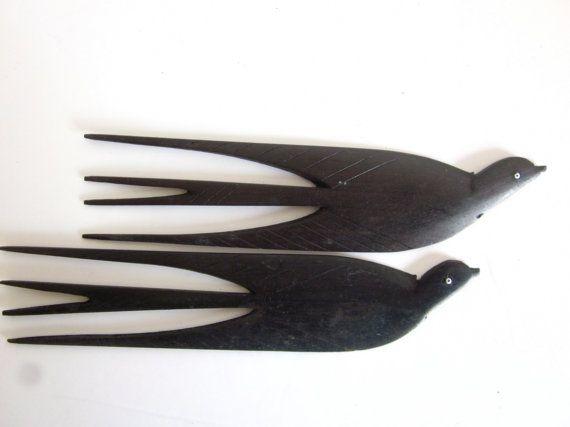 Vintage wood carved bird hair combs ebony hair fork
