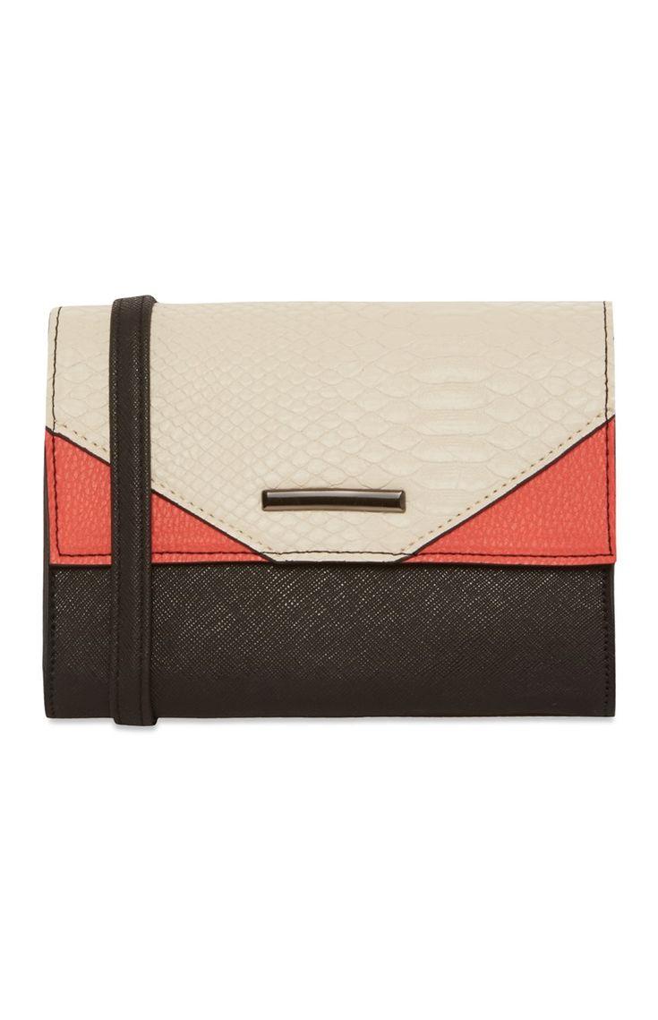 Primark - Zwarte tas met rode en witte vlakken