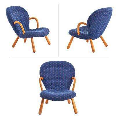 PHILIP ARCTANDER DANSK 1916 - 1994  Muslingstol 'Muslingestolen''/''Musling'', produsert av Vik & Blindheim. Formgitt ca. 1944, i produksjon fra ca. 1953.  Ben i lakkert tre. Trukket i blått, mønstret stoff.