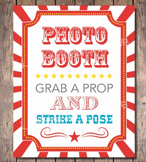 Carnival Party Photo Booth Sign (Instant Download)