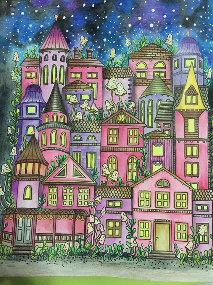 Coloured By Kim Son. Dagdrommar book #Dagdrommar #HannaKarlzon #adultcoloring